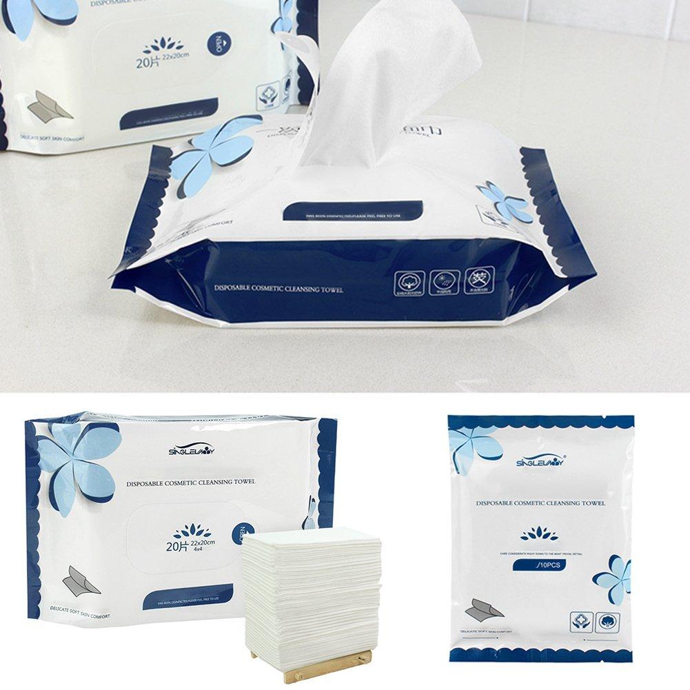 10 - 20 piezas de toalla facial de lavado facial desechable transpirable y de algodón húmedo para limpiar la cara y la piel: Amazon.es: Belleza