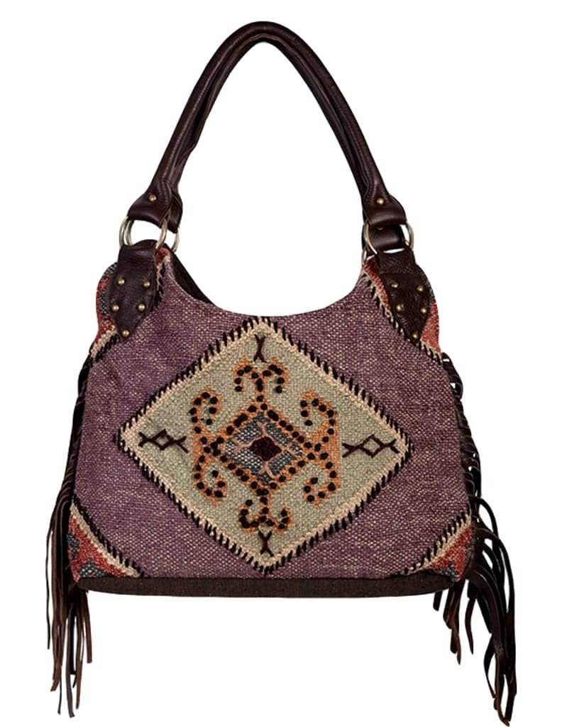 Scully Woven Cotton and Wool Blend Shoulder Bag with Leather Fringe (Beige)