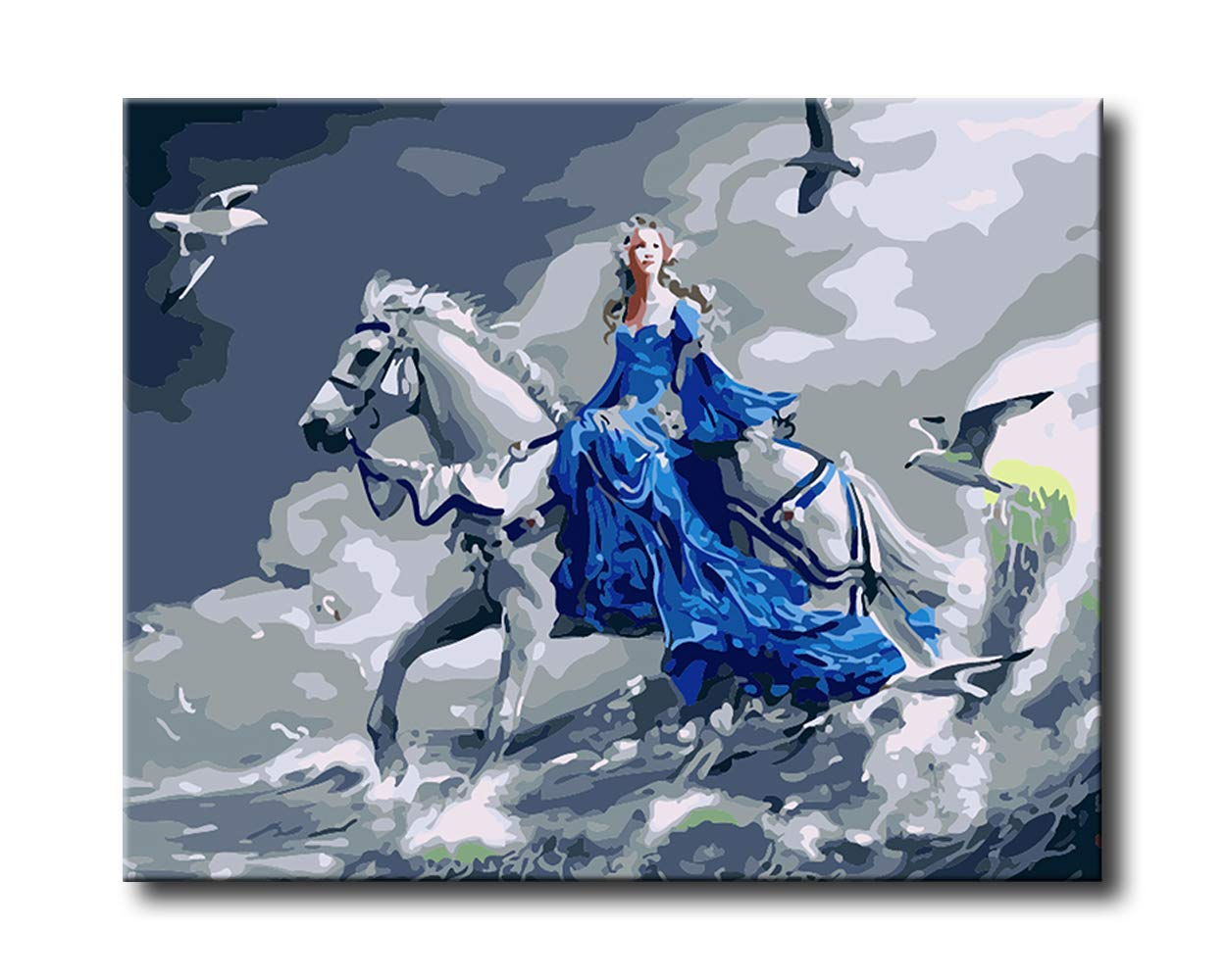 Shukqueen DIY Paint by Numbers for Adults DIY Oil Painting Kit for Kids Beginner - Blue Princess 20x26 Inch (Without Frame)