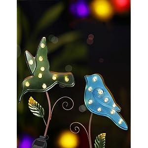 Bright Zeal Set Of 2 Large Metal Led Solar Garden Stake Lights 9 Wide