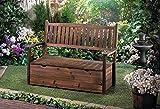 GHP Outdoor Yard Decor Fir Wood Storage Bench Garden Grove