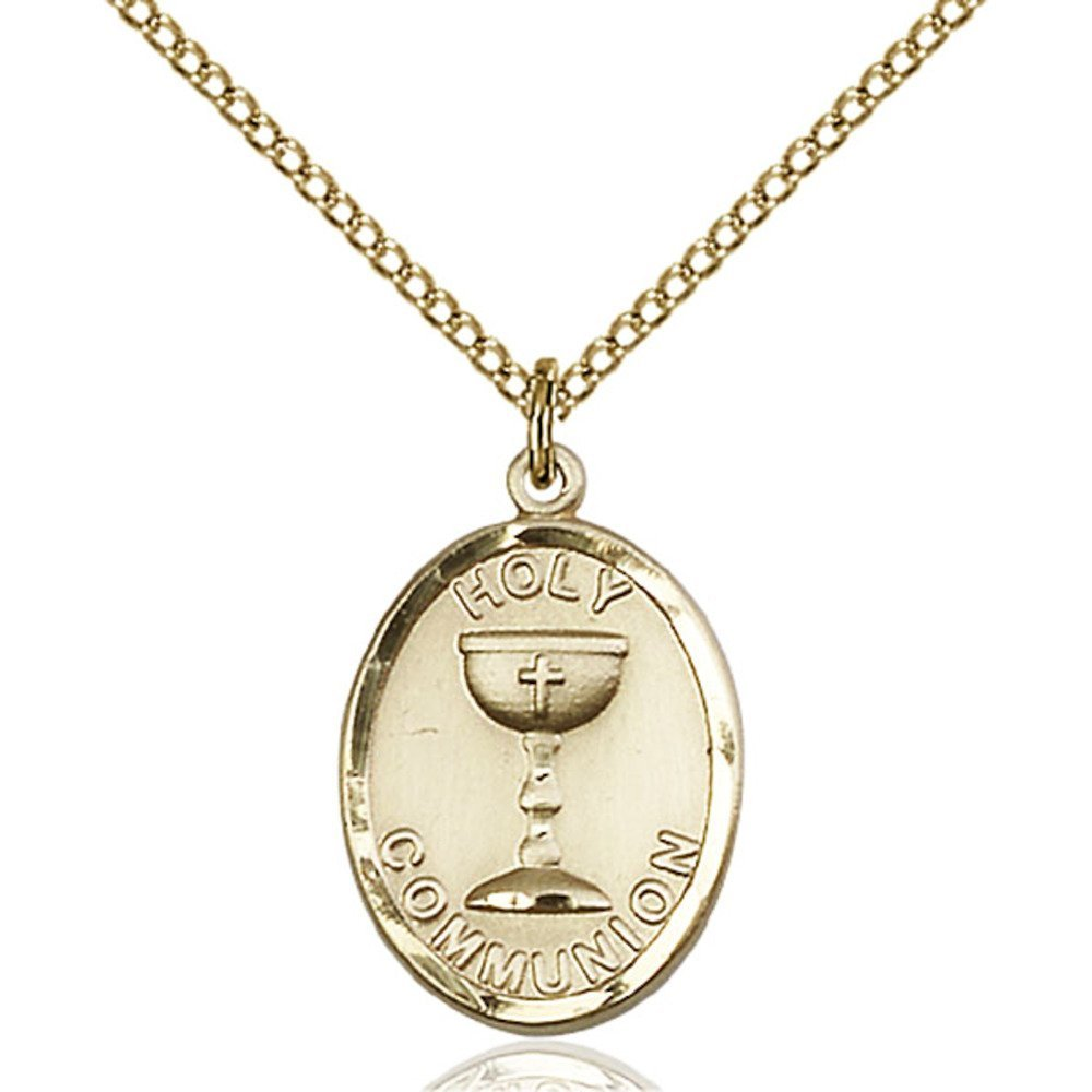 Gold Filled Holy Communion Pendant 3/4 x 1/2 inches with Gold Filled Lite Curb Chain by Bonyak Jewelry Saint Medal Collection