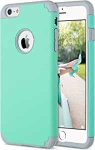 ULAK iPhone 6 Plus Case, iPhone 6S Plus Case, Slim Dual Layer Soft Silicone Hard Back Cover Anti Scratches Bumper Protective Case for Apple iPhone 6 Plus / 6S Plus 5.5 inch (Turquoise)
