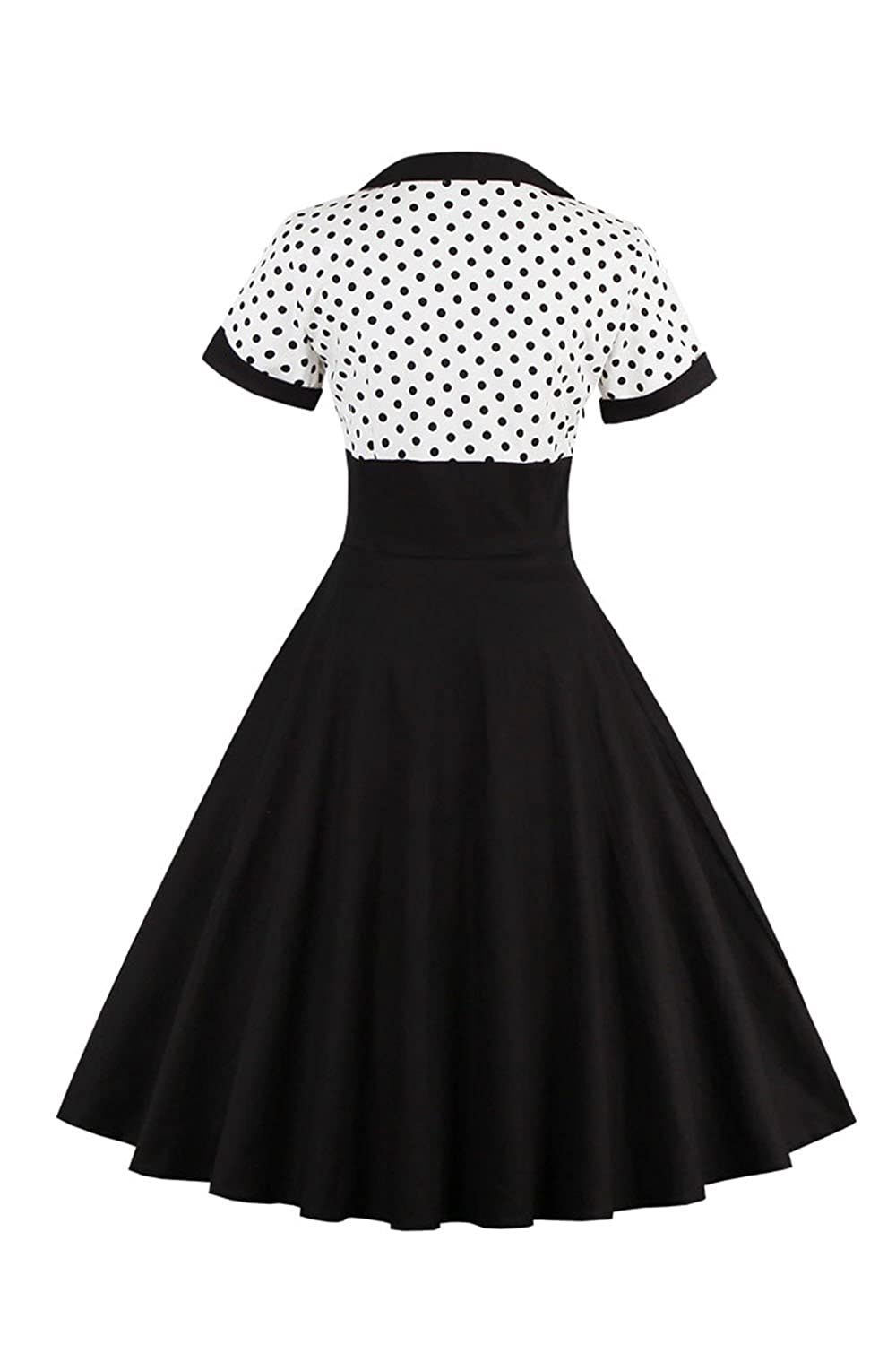 96f9257f1c83 YACUN Women's Vintage 1940s Polka Dot Fit And Flare Midi Swing Party Dress:  Amazon.co.uk: Clothing