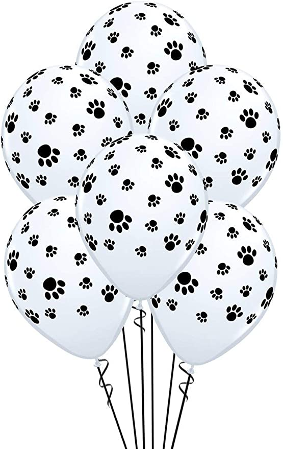 11-Inch 15-Units White with Black paw prints All-Around Paw Prints-A-Round Biodegradable Latex Balloons ZIYAN