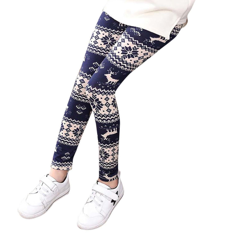 SHOBDW Noël Pantalon Fille Leggings Pantalons à Crayon Enfant 2-12 ans