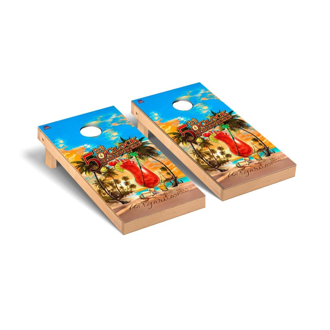 Margaritaville Regulation Cornhole Game Set Its 5 Oclock Somewhere Version by Victory Tailgate
