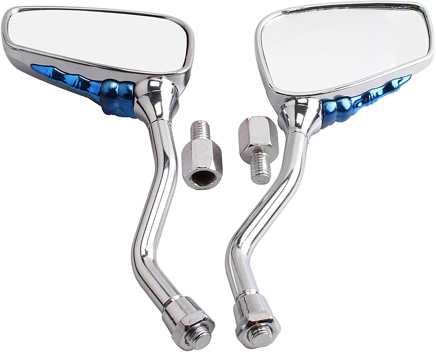 Blue BauZeit Universal Motorcycle Rearview Mirrors Folding Motorbike Side Mirror 8mm 10mm Thread Bolts Plastic Skull Skeleton Hand fit for ATV Quad 4 Wheeler Pit Dirt Bike Moped Scooter
