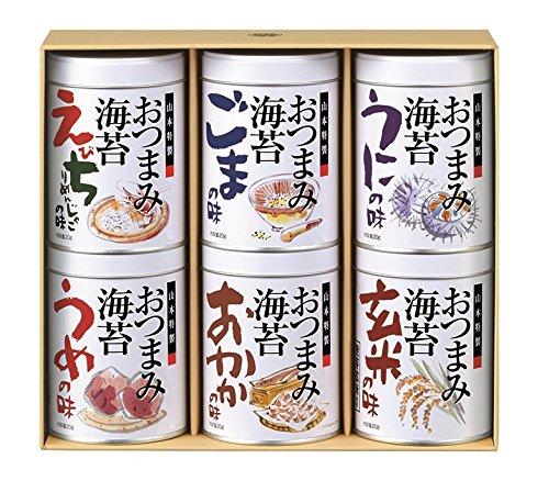 山本海苔店その他 おつまみ海苔 6缶 詰め合わせ【ごま/うめ/玄米/えびちりめんじゃこ/うに/おかか】の画像