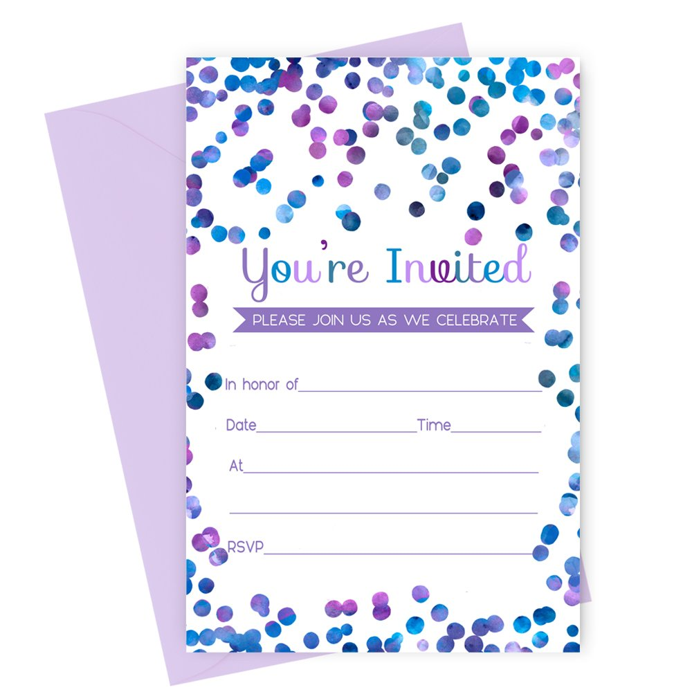 Purple Confetti Party Invitations with Envelopes Set of 15 by Paper Clever Party