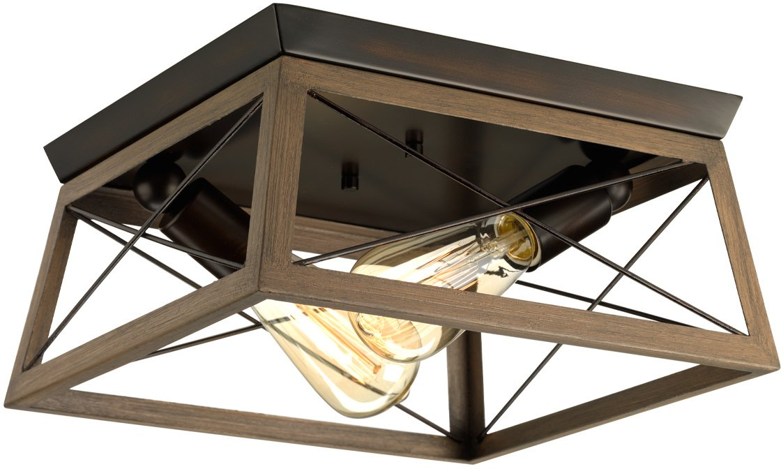 Luxury Industrial Chic Ceiling Fixture, Large Size: 6'' H x 12'' W, with Modern Farmhouse Style Elements, Olde Bronze Finish, UHP2120 from The Berkeley Collection by Urban Ambiance