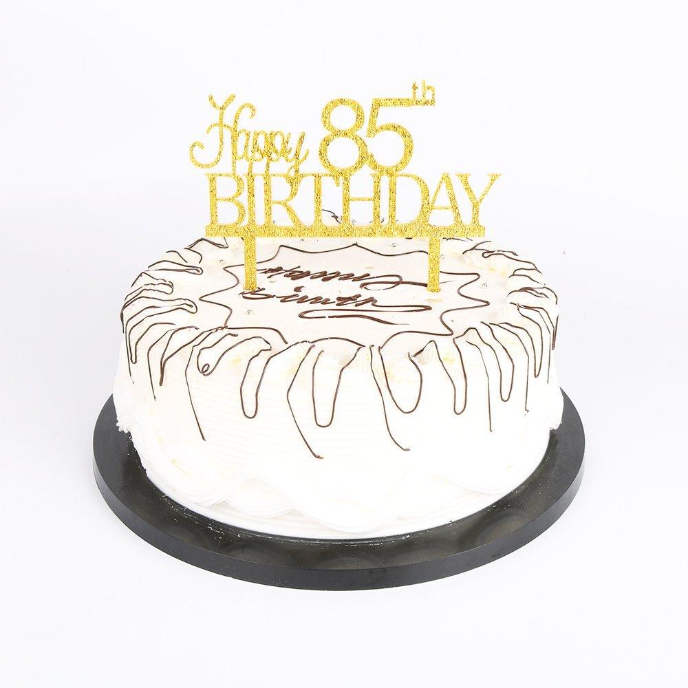 Amazon Yuinyo Happy 85th Birthday Cake Topper Gold 85th