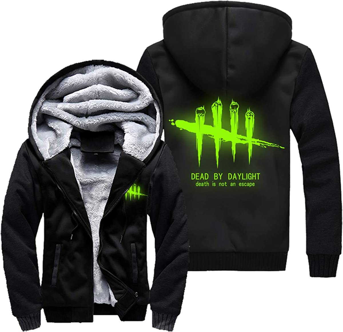 Lichee Mens Dead by Daylight Hoodie Printing Zipper Jacket Autumn Thicken Hooded Coat