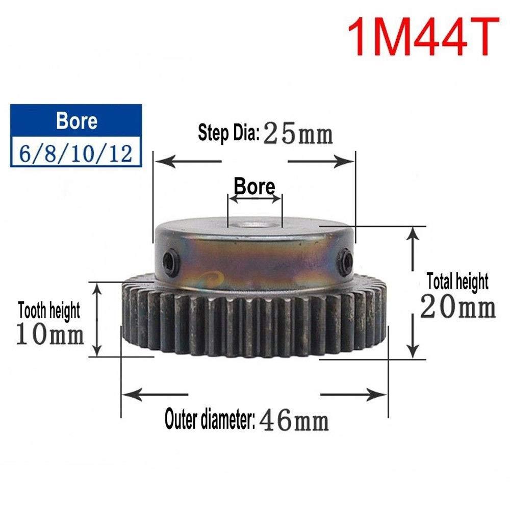 Bore:6mm; Step Diameter: 20mm, 1Mod 40T High Precision 1 Mod 40T Spur Gear 45# Steel Heavy Duty Pinion Gear 6mm Bore With Step x 1Pcs
