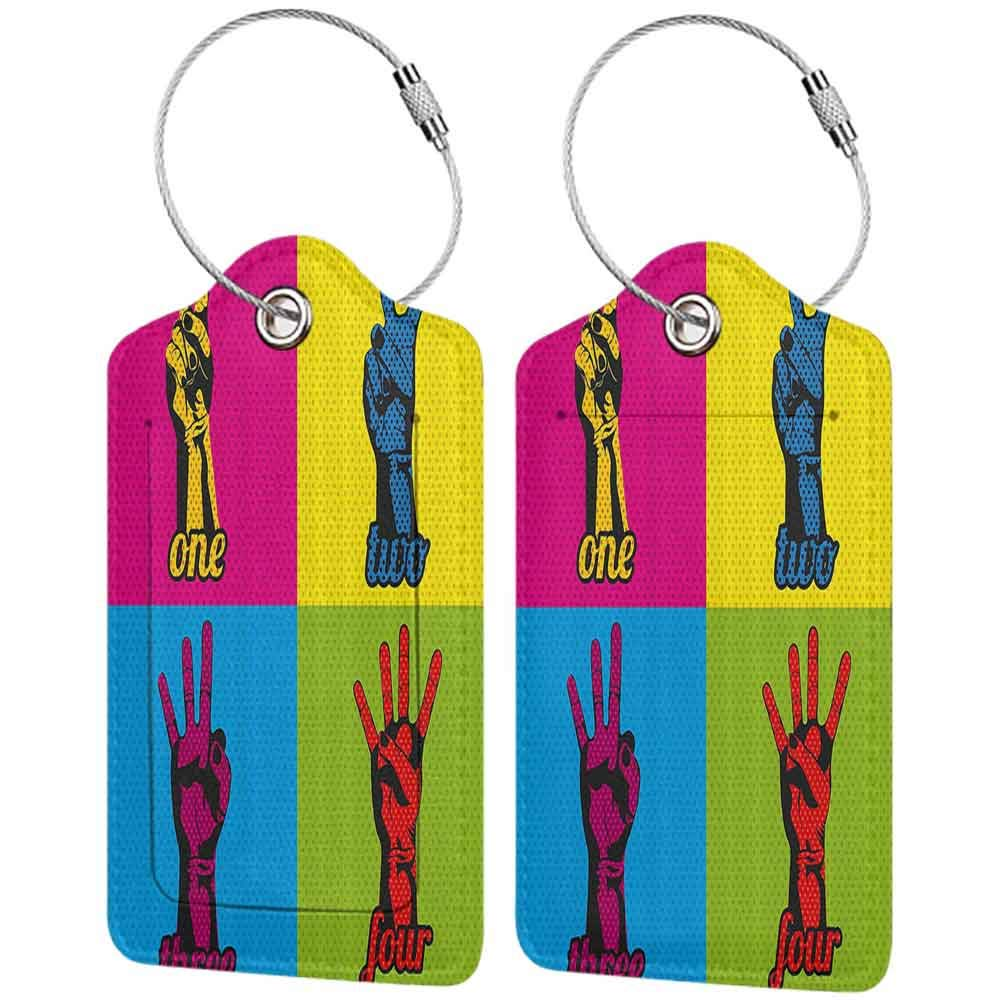 Modern luggage tag Modern Decor Pop Art Style Numbers and Hands over Various Colors Counting Retro Comic Art Print Suitable for children and adults Multi W2.7 x L4.6