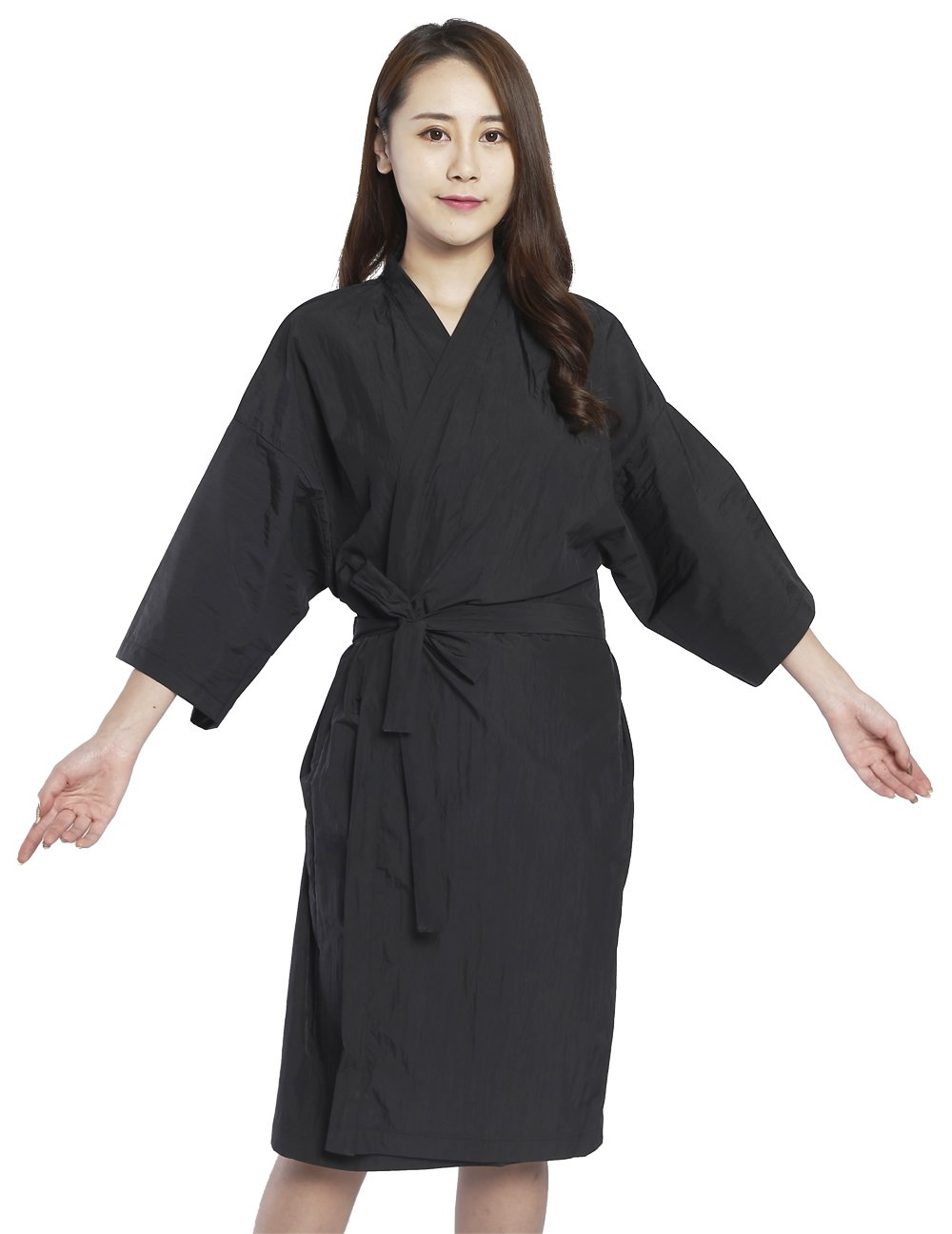 Salon Client Gowns Kimono Style, Hair salon Smocks Capes- 43'' Long (Black)