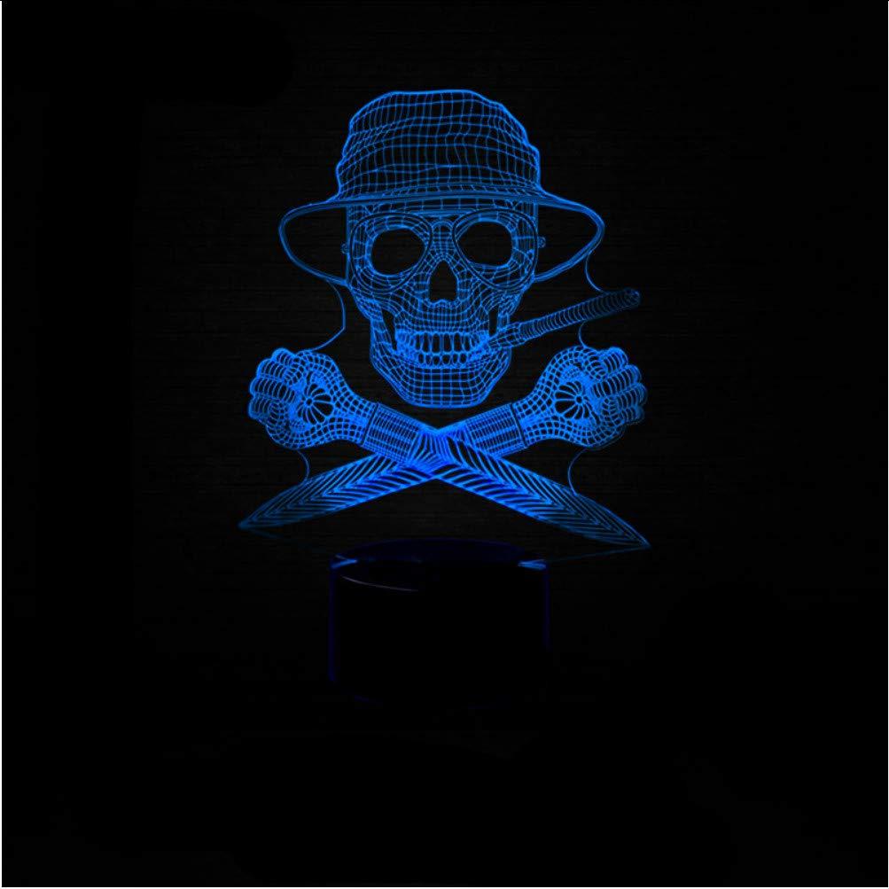 Zlxzlx 3D Visual 7 Colores Cambiantes Cambiantes Cambiantes Fresco Cráneo Accesorio De Iluminación Llevó La Luz Nocturna Para Niños Touch Usb Head Lámpara De Escritorio Bebé Dormitorio Decoración Regalo 1ea802