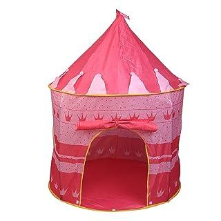LANLAU Tenda Princess Castle, Tenda da Gioco Pink Princess Tenda Pieghevole per Bambini con Borsa per Il Trasporto Portatile E Luci Stringa per Interni/Esterni
