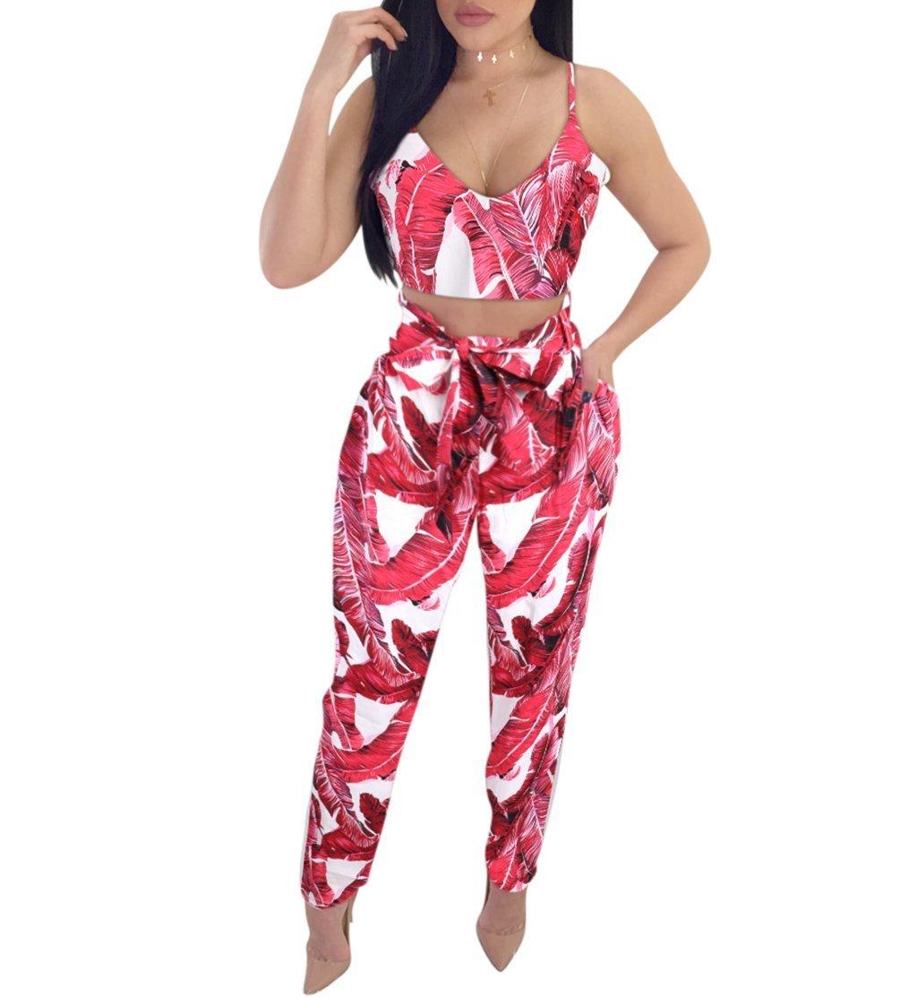 BELONGSCI Women 2 Pieces Summer & Autumn Outfits Suit Floral Print Crop Top + Long Pants with Belt