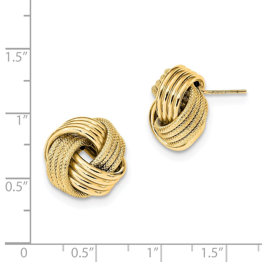 14k Polished Textured Love Knot Post Earrings Love Knots