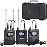 Comica CVM-WM300(A) 96-Channel Zinc Alloy UHF Rechargeable Wireless Dual Lavalier Microphone System for Canon Nikon Sony Panasonic DSLR Camera,XLR camcorder & Smartphone (394-Foot Range)(2TX+1RX)