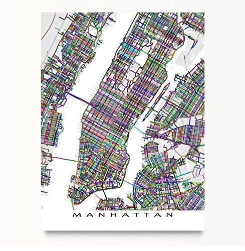 Manhattan Map  Wall Art Print  New York City  Multicolored Street Lines