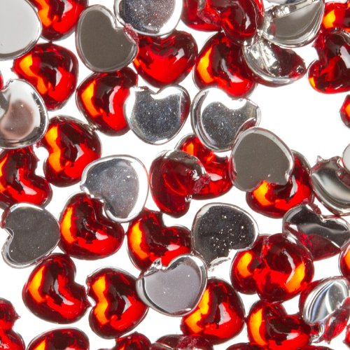 Zink Color Nail Art Acrylic Rhinestone Red Heart 100 Piece Embellishment Red Nail Art For Christmas