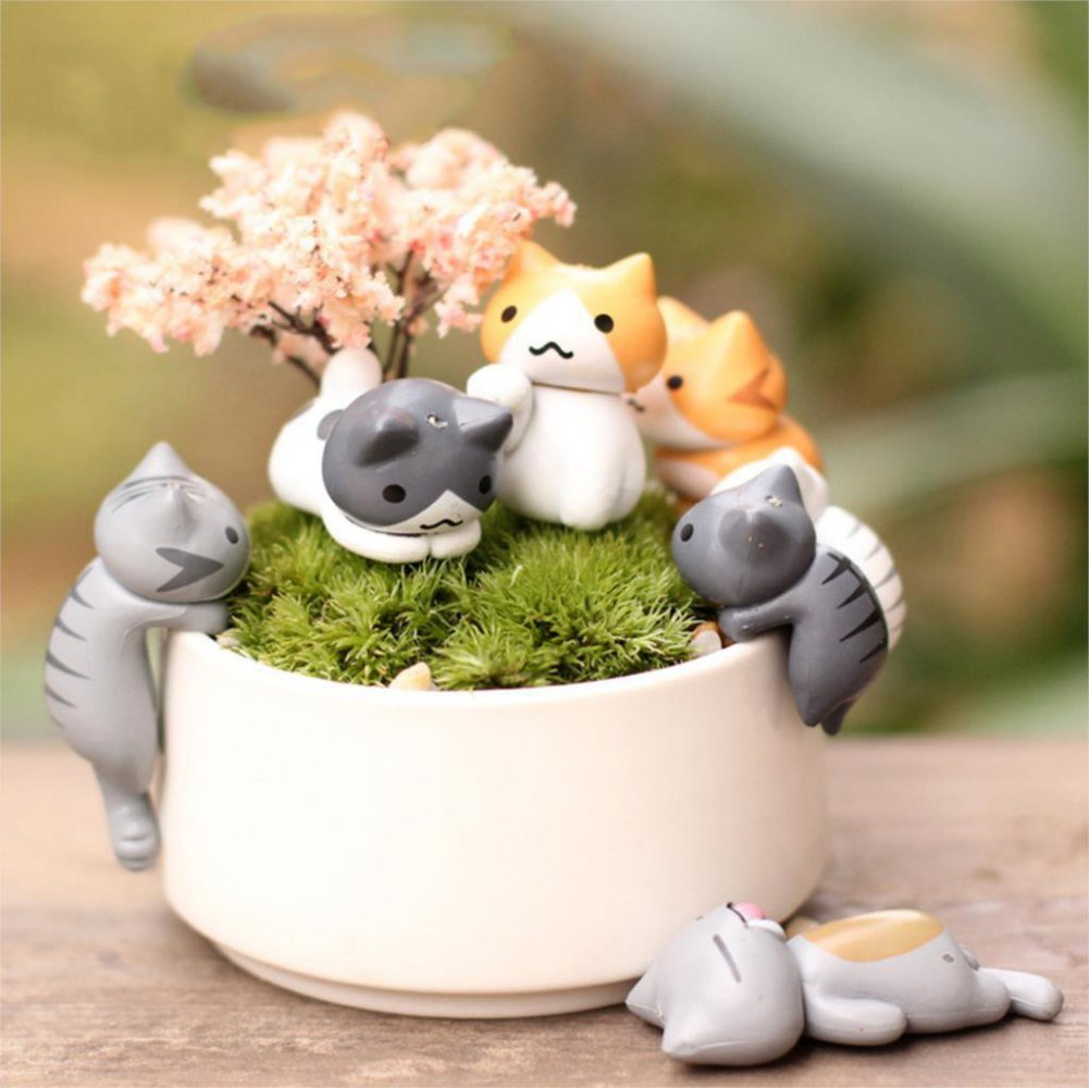 COOLTOP 6pcs Lucky Miniature Cat Fairy Garden Micro Landscape Home Garden Decoration Plant Pots Bonsai Craft Decor