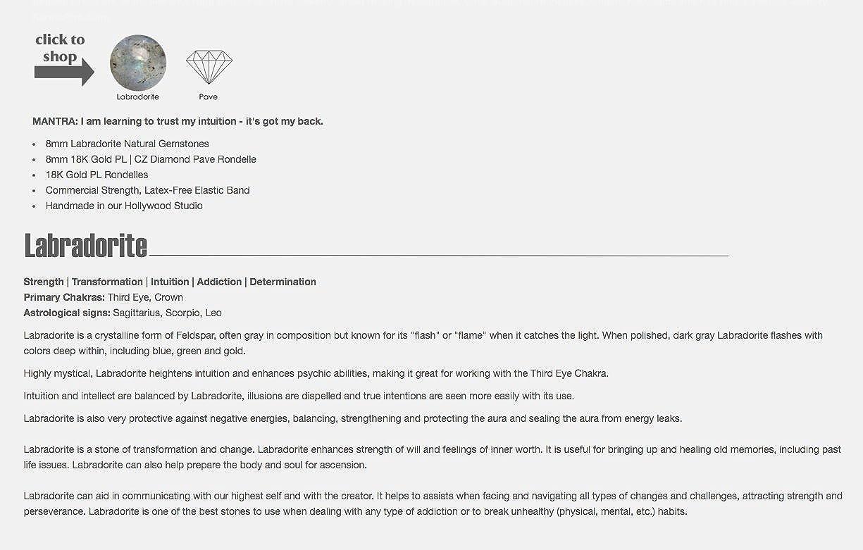 Amazon com: KarmaArm Beaded Bracelets INTUITION: Labradorite   Pave