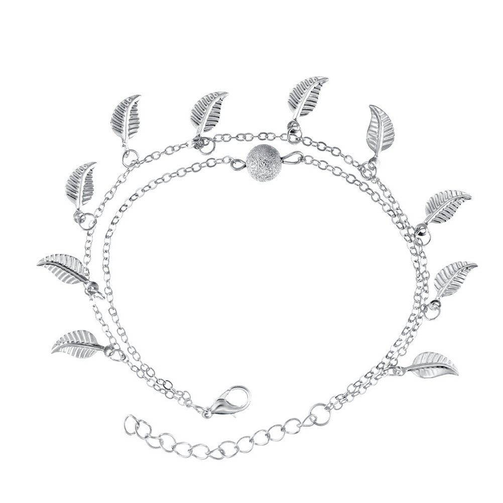LUOEM Anklet Double-layer Vintage Beach Style Tassel Small Leaf Foot Chain Bracelet