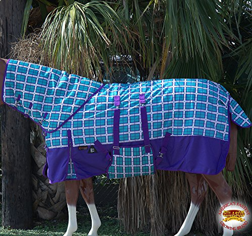 78'' HILASON 1200D WATERPROOF WINTER HORSE BLANKET NECKCOVER BELLY WRAP TURQUOISE PLAID WITH PURPLE by HILASON