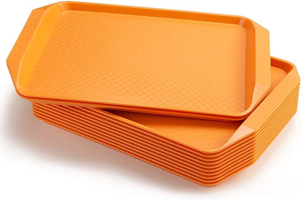 Eslite Plastic Fast Food Serving Tray,16.95 by 11.82-Inch,Set of 12 (Orange)