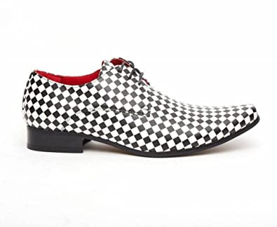 2d61d5d8223 Mens Checkerboard Pointed Shoes Black White Smart & Casual Rock New ...