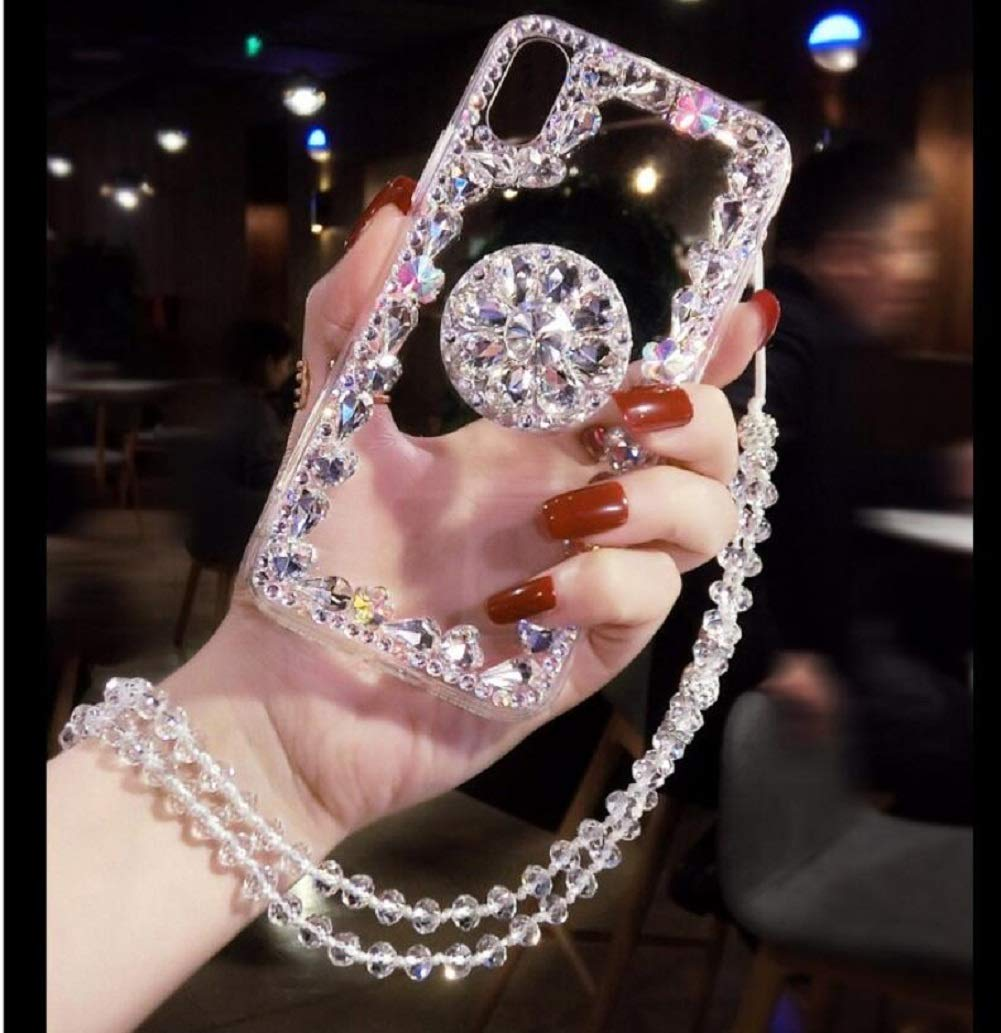 Amocase Diamond Clear Case with 2 in 1 Stylus for Samsung Galaxy Note 8,Luxury Girly 3D Handmade Gemstone Soft Rubber Bumper Ring Stand Holder Bling Case with Crystal Neck Lanyard - Silver by Amocase