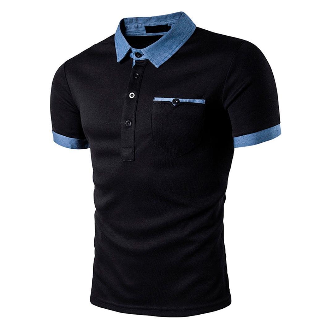 Odejoy -T-shirt Camicetta, Odejoy Uomo Progettazione di Pulsanti Mezza Cardigan Maglietta Casual Slim Fit a Manica Corta T-Shirt Slim Manica Corta Maglietta Camicia Camicie Polo Giacca Pullover