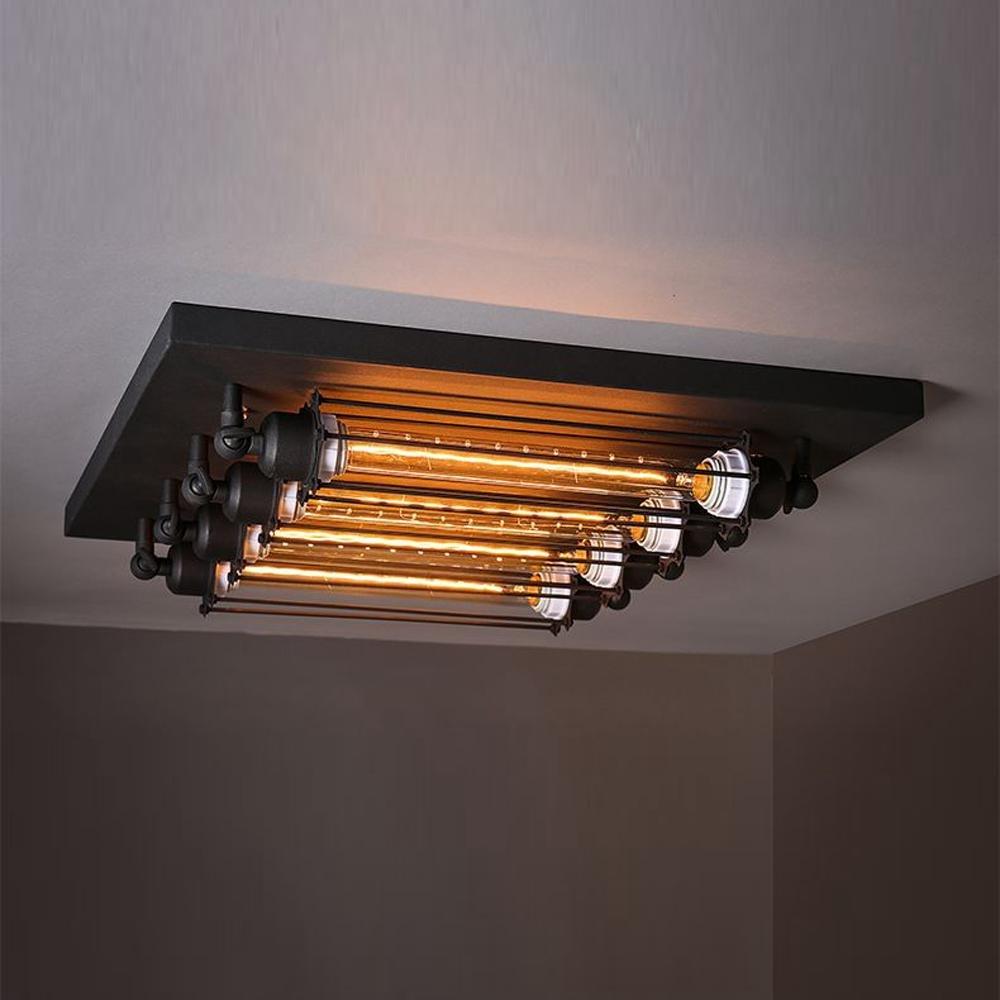 american loft metall rohren wohnzimmer deckenleuchte retro industrie stil 4 kopfe metall quadratische flache fur schlafzimmer balkon decken lampe