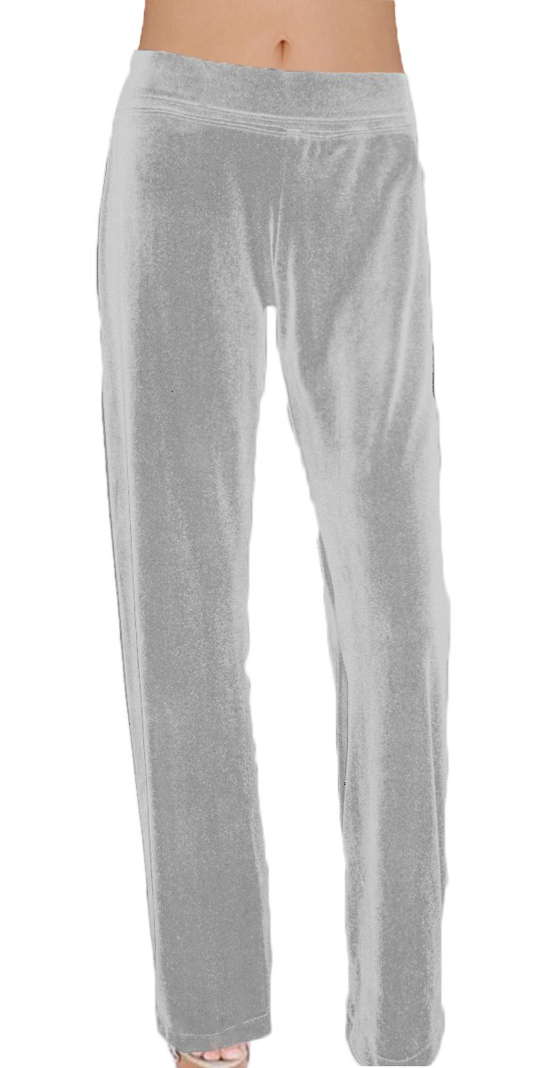 Ooh la la Stretch Velvet Special Occasion Full Length Straight Leg or Harem Dress Pant (XX-Large, Silver Straight Leg)