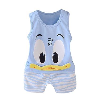 Ropa bebe Niño recién nacido, ❤️ Amlaiworld Ropa Bebe Recien Nacido Verano 2018 Caricatura Camiseta Sin Mangas Camisa Blusa y Pantalones Cortos ...