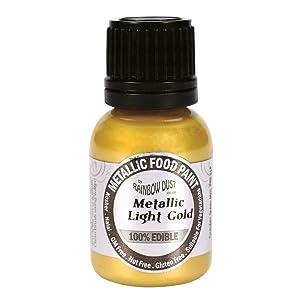 Rainbow Dust Edible Metallic Food Paints - Metallic Light Gold - Pack of 2