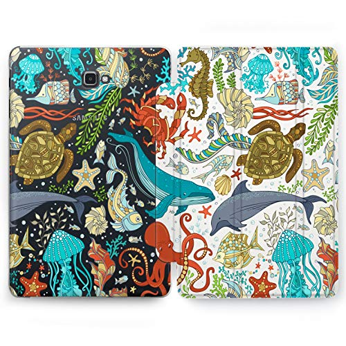 Wonder Wild Ocean Life Samsung Galaxy Tab S4 S2 S3 A Smart Stand Case 2015 2016 2017 2018 Tablet Cover 8 9.6 9.7 10 10.1 10.5 Inch Clear Animals Whales Dolphins Turtle Octopus Fish Seahorse Sea World]()