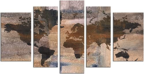 Large World Map Wall Art Wall Decor Paintings On Canvas Prints For Living Room Wall Art Oil Paintting For Home Decor Landscape Canvas Artworks Framed Ready To Hang 10 x60 Brown