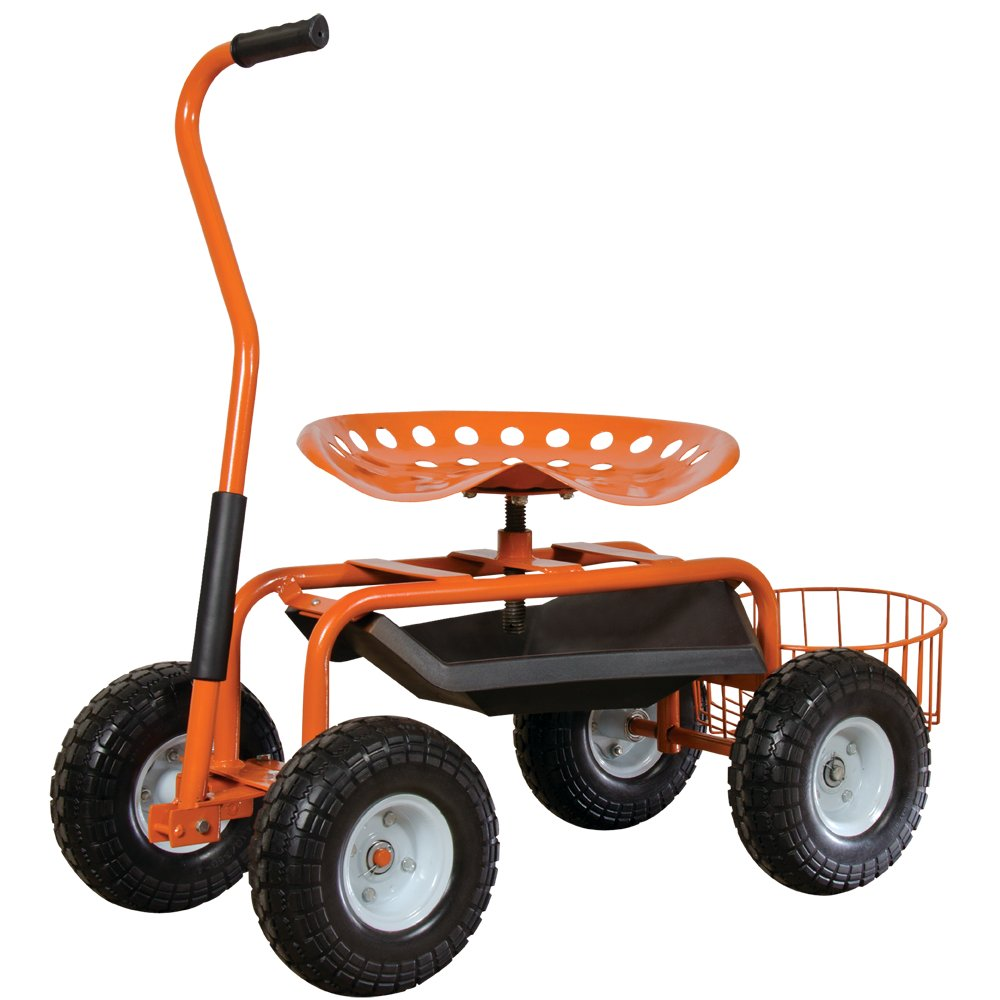 Garden Scoot with Swivel Seat, Flat-Free Tires and Bucket Basket