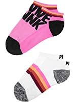 Victoria's Secret PINK Ultimate No-Show Socks- Neon Princess / White Stripe