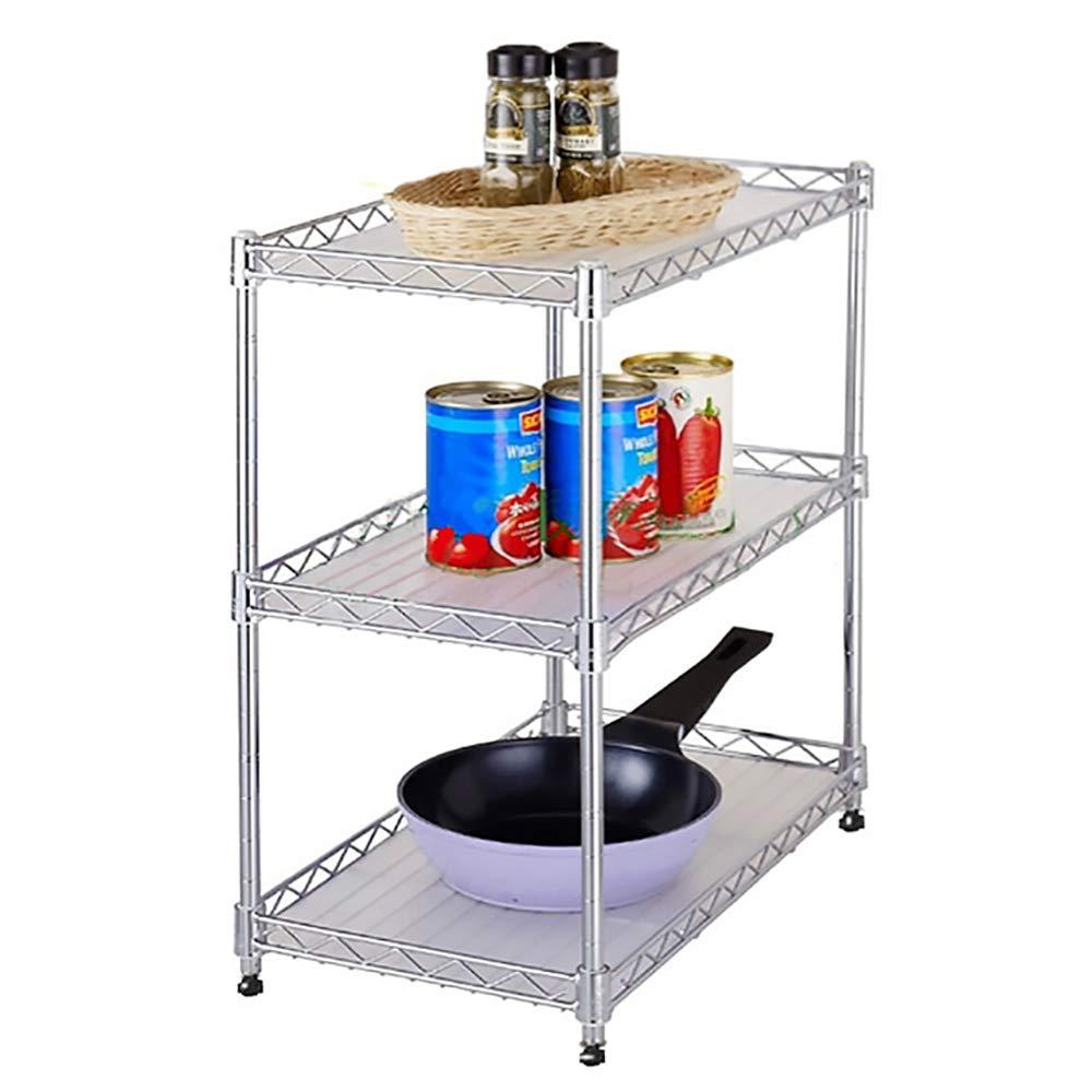 HUO Kitchen Floor Stainless Steel Shelf Adjustable Multi-Purpose Storage Rack (Size : 100A)