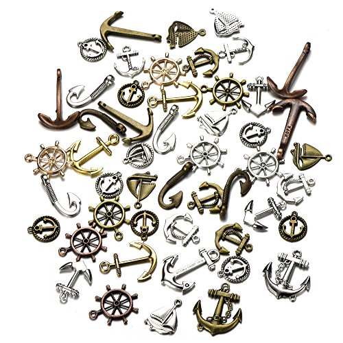 BronaGrand 40 Pieces Mixed Vintage Skeleton Keys Charms Pendants for Necklaces Bracelets Jewelry Crafts Making,Antique Bronze Color