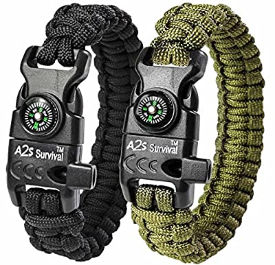 A2S Paracord Bracelet K2-Peak Series - Survival Gear Kit with Embedded Compass, Fire Starter, Emergency Knife & Whistle - Pack of 2 - Quick Release Slim Buckle Design Hiking Gear