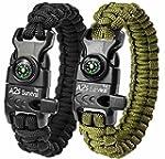 A2S Paracord Bracelet K2 Peak – Survival Gear Kit with Embedded Compass Fire Starter Emergency Knife & Whistle – Pack of 2 Slim Buckle Design Hiking Gear Black Green 8 5