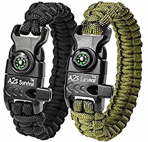 A2S Paracord Bracelet K2-Peak – Survival Gear Kit with Embedded Compass, Fire Starter, Emergency Knife & Whistle – Pack of 2 - Quick Release Slim Buckle Design (Black / Green 9