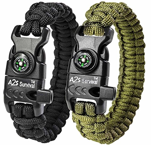 "A2S Paracord Bracelet K2-Peak – Survival Gear Kit with Embedded Compass, Fire Starter, Emergency Knife & Whistle – Pack of 2 - Slim Buckle Design Hiking Gear (Black / Green 8.5"")"
