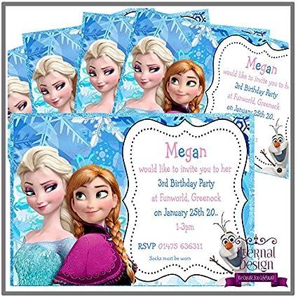 10 Invitaciones a Fiesta de cumpleaños, diseño de Elsa y ...